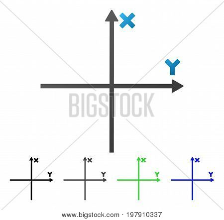 Coordinate Axis flat vector icon. Colored coordinate axis gradient, gray, black, blue, green pictogram versions. Flat icon style for application design.