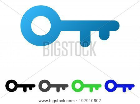 Key flat vector pictogram. Colored key gradient, gray, black, blue, green icon versions. Flat icon style for graphic design.