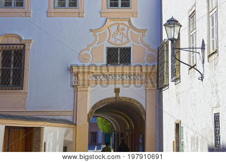 Salzburg, Austria - May 01, 2017: The Old buildings in Old Town of Salzburg, Austria - May 01, 2017