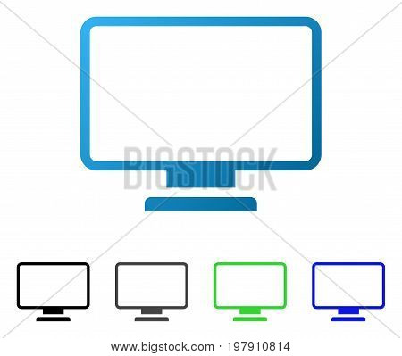 Monitor flat vector illustration. Colored monitor gradient, gray, black, blue, green pictogram versions. Flat icon style for application design.