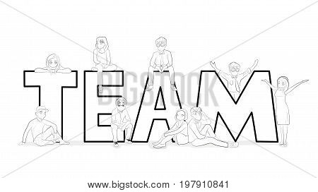 Sketch of working little people with a big word Team. Doodle is a cute miniature scene of young creative people. Hand-drawn cartoon vector illustration for business design.