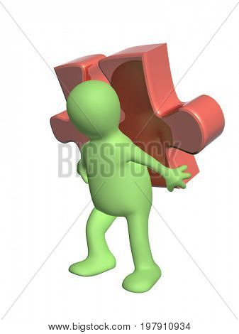 3d man of green color with part of puzzle of red color. Isolated on white background. 3d render