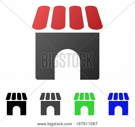 Shop flat vector pictograph. Colored shop gradient, gray, black, blue, green icon versions. Flat icon style for application design.