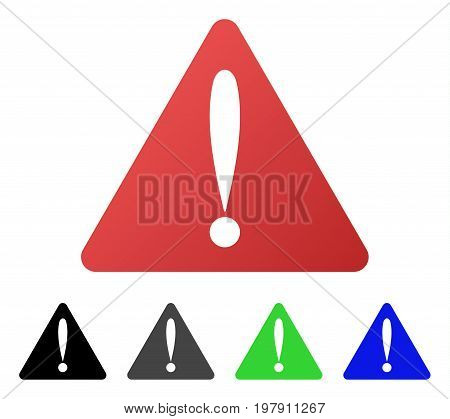 Warning Error flat vector illustration. Colored warning error gradient, gray, black, blue, green pictogram variants. Flat icon style for graphic design.