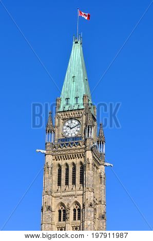 Peace Tower (officially: the Tower of Victory and Peace) of Parliament Buildings, Ottawa, Ontario, Canada.