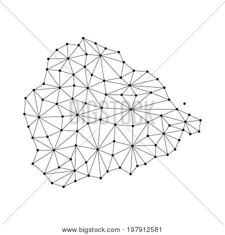Ascension Island map of polygonal mosaic lines network rays and dots vector illustration.