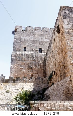 Jerusalem Israel July 14 2017 : Fragment of the fortress walls near to Jaffa Gate in the old city of Jerusalem Israel.