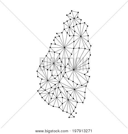 Saint Lucia map of polygonal mosaic lines network rays and dots vector illustration.