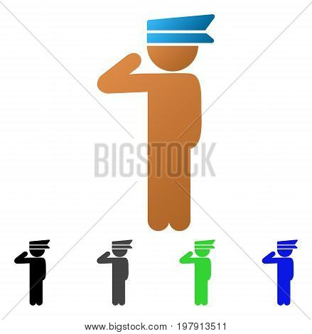 Child Officer flat vector illustration. Colored child officer gradient, gray, black, blue, green icon versions. Flat icon style for application design.