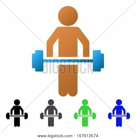 Child Power Lifting flat vector illustration. Colored child power lifting gradiented, gray, black, blue, green pictogram variants. Flat icon style for web design.