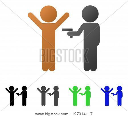 Crime flat vector pictograph. Colored children crime gradient, gray, black, blue, green icon variants. Flat icon style for web design.