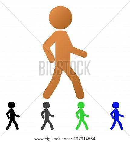 Walking Child flat vector illustration. Colored walking child gradiented, gray, black, blue, green icon variants. Flat icon style for application design.