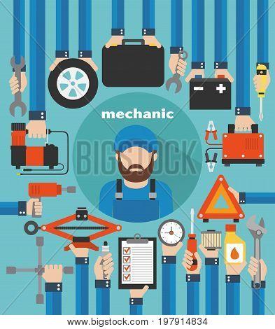 Mechanic car service modern design flat .Vector illustration
