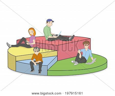 Different people with gadgets and laptops in the diagram segments. Vector illustration.