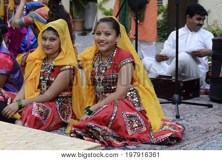 Prague, Czech Republic, 15 August, 2015, Editorial photo of girls who is wearing traditional indinan dress on indian festival, Prague, Czech Republic