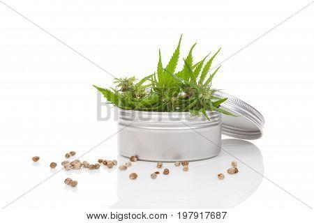 Marijuana bud in silver dose with seeds isolated on white background. Medical marijuana.