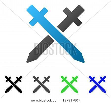 Crossing Swords flat vector illustration. Colored crossing swords gradient, gray, black, blue, green icon variants. Flat icon style for graphic design.