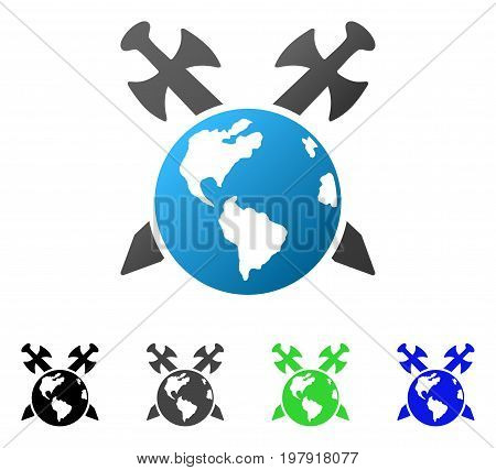 Earth Swords flat vector pictograph. Colored earth swords gradient, gray, black, blue, green icon versions. Flat icon style for graphic design.