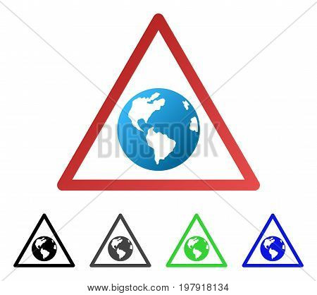 Earth Warning flat vector icon. Colored earth warning gradiented, gray, black, blue, green pictogram versions. Flat icon style for graphic design.