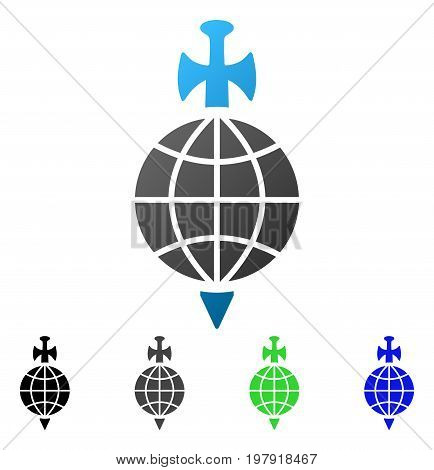 Global Guard flat vector pictogram. Colored global guard gradient, gray, black, blue, green pictogram variants. Flat icon style for web design.