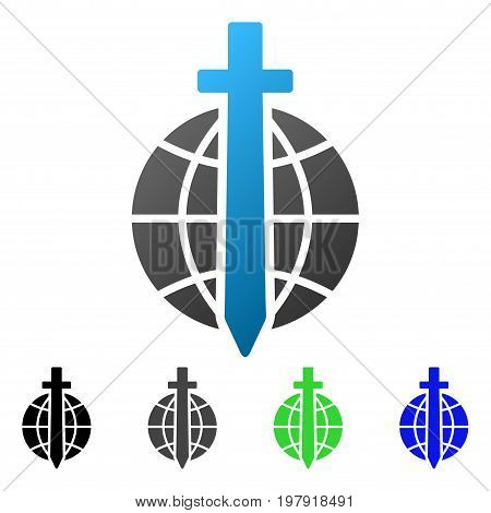 Global Guard flat vector illustration. Colored global guard gradiented, gray, black, blue, green icon variants. Flat icon style for web design.