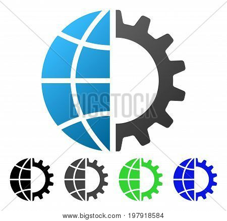 Global Industry flat vector pictogram. Colored global industry gradiented, gray, black, blue, green icon versions. Flat icon style for application design.