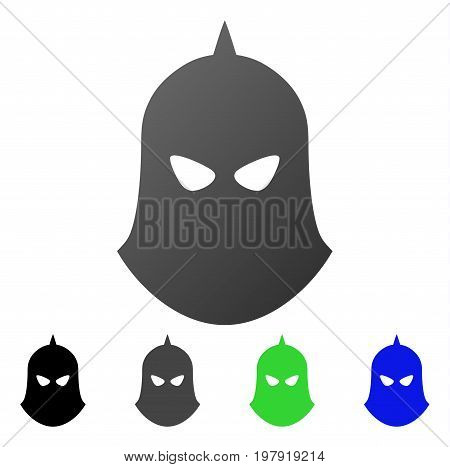Knight Helmet flat vector icon. Colored knight helmet gradient, gray, black, blue, green icon versions. Flat icon style for application design.
