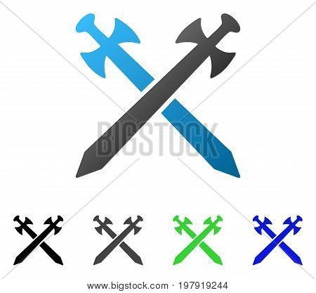 Medieval Swords flat vector pictograph. Colored medieval swords gradiented, gray, black, blue, green icon variants. Flat icon style for application design.