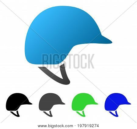 Motorcycle Helmet flat vector icon. Colored motorcycle helmet gradient, gray, black, blue, green pictogram versions. Flat icon style for graphic design.