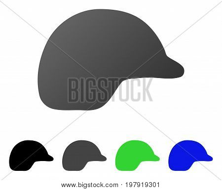 Motorcycle Helmet flat vector icon. Colored motorcycle helmet gradient, gray, black, blue, green pictogram variants. Flat icon style for application design.