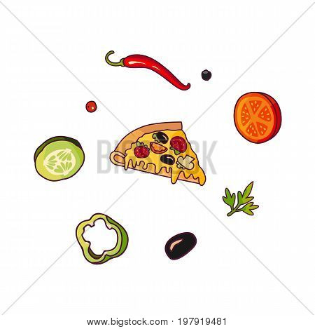Vector flying ingredients , pizza slice set flat isolated illustration on a white background. Vegetables for sandwich, roll shawarma fastfood preparation. Chilli, tomato pepper olive cucumber cartoon
