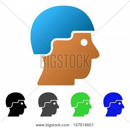 Soldier Helmet flat vector illustration. Colored soldier helmet gradiented, gray, black, blue, green pictogram variants. Flat icon style for web design.