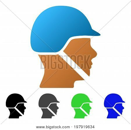 Soldier Helmet flat vector illustration. Colored soldier helmet gradient, gray, black, blue, green icon versions. Flat icon style for web design.