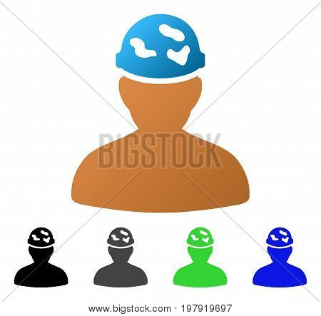 Soldier Under Spotted Helmet flat vector pictogram. Colored soldier under spotted helmet gradient, gray, black, blue, green icon versions. Flat icon style for graphic design.