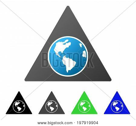 Terra Triangle flat vector pictograph. Colored terra triangle gradiented, gray, black, blue, green pictogram variants. Flat icon style for graphic design.