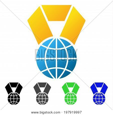 World Award flat vector pictograph. Colored World award gradiented, gray, black, blue, green pictogram variants. Flat icon style for graphic design.
