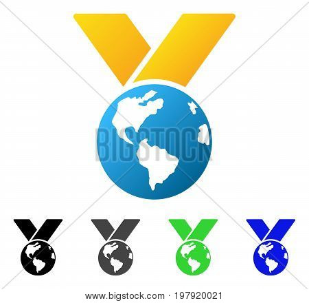 World Medal flat vector icon. Colored World medal gradiented, gray, black, blue, green icon variants. Flat icon style for graphic design.
