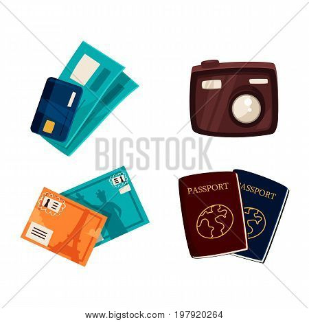Travel, vacation objects - passports, credit card, tickets, postcards, compact digital camera, cartoon vector illustration isolated on white background. Tourist necessities, travel, vacation objects