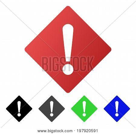 Error Rhombus flat vector illustration. Colored error rhombus gradient, gray, black, blue, green pictogram versions. Flat icon style for graphic design.