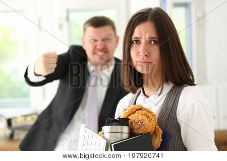 Angry Yelling Boss Point Arm To Exit