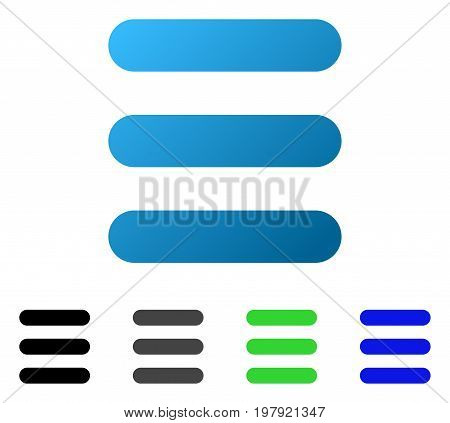 Stack flat vector pictogram. Colored stack gradient, gray, black, blue, green pictogram variants. Flat icon style for application design.