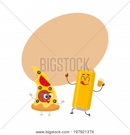 Funny alumium beer can and yummy pizza slice characters having fun, cartoon vector illustration with space for text. Funny smiling beer can and pizza, fast food restaurant, good company