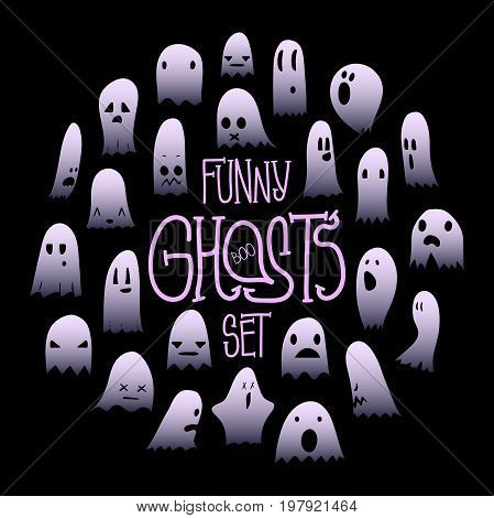 Big set of cartoon spooky scary ghosts character, hand-drawn ghosts with various expressions, funny night symbol for halloween celebration, round frame, isolated, EPS 10