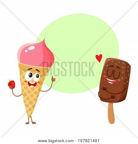 Two funny ice cream characters - strawberry cone and chocolate popsicle, cartoon style vector illustration with space for text. Two cute smiling strawberry and chocolate ice cream characters