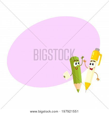 Cute, funny pen and pencil characters with smiling human faces cheering, clapping hands, cartoon vector illustration with space for text. Smiling student pen and pencil characters, mascots