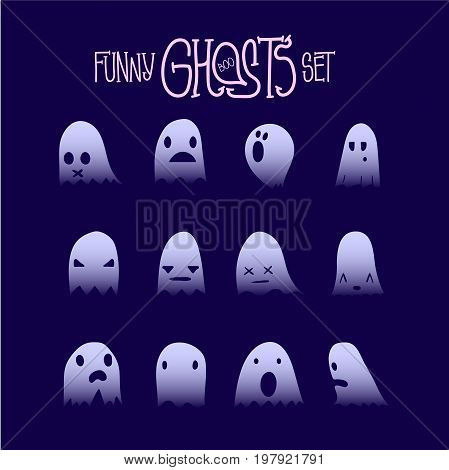 Set of twelve cartoon spooky scary ghosts character, hand-drawn ghosts silhouette with various expressions, fine night symbol for halloween celebration, isolated, EPS 8