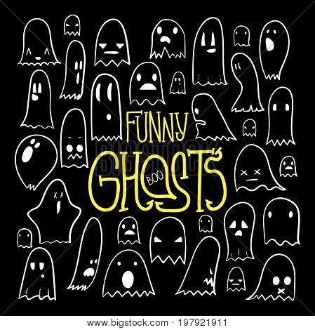 Big set of cartoon spooky scary ghosts character, hand-drawn linear ghosts with various expressions, funny night symbol for halloween celebration, isolated, EPS 8