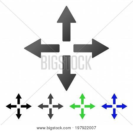 Expand Arrows flat vector icon. Colored expand arrows gradient, gray, black, blue, green pictogram versions. Flat icon style for graphic design.