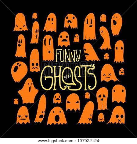 Big set of cartoon spooky scary ghosts character, hand-drawn ghosts with various expressions, funny night symbol for halloween celebration, isolated, EPS 8