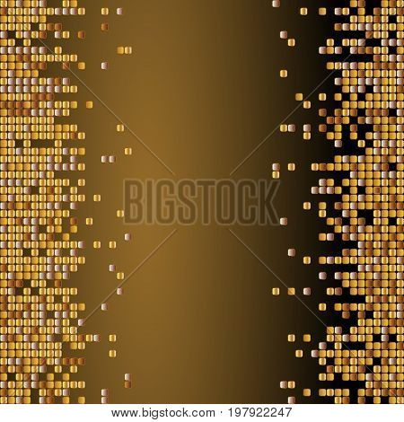 Vector Shiny Background With Golden Sequins. Vertical Background With Dispersed Particles. Vector Il